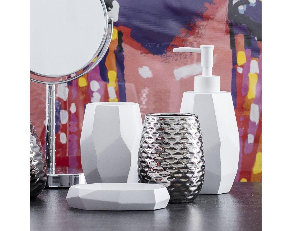 Šálka do kúpeľne GEOMETRO BIELA